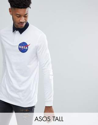 Asos DESIGN TALL NASA Longline Long Sleeve Rugby Polo