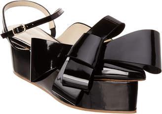DELPOZO Dark Azurite Patent Bow Wedge Sandal