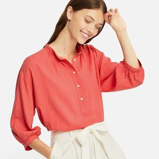 Uniqlo WOMEN Linen Blend Stand Collar 3/4 Sleeve Blouse