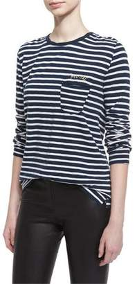 Zadig & Voltaire Long-Sleeve Striped Jersey Tee, Blanc/Mar $118 thestylecure.com