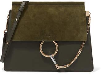 Chloé Faye Medium Leather And Suede Shoulder Bag - Dark green