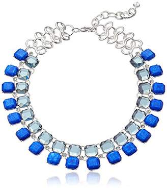 m. haskell Fashion Jewelry Tribal Glam Blue Multi-Faceted Stone Collar Necklace