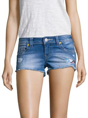 True Religion Joey Distrssed Cut-Off Denim Shorts/Blue Wonder $169 thestylecure.com