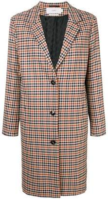 Closed check oversized coat