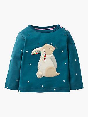 Boden Mini Baby Snowy Friends Bunny Top, Blue