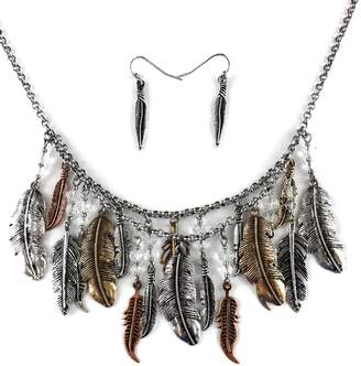 Western Collection Bohemian Metal Gold Rose Gold Patina Feather Pendants Necklace