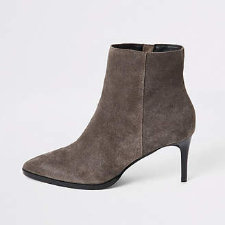 River Island Grey suede pointed toe heeled ankle boots