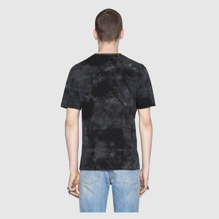 Cotton tie-dye t-shirt with Gucci print 12