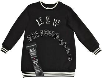 Dolce & Gabbana Embellished Cotton Sweatshirt Dress