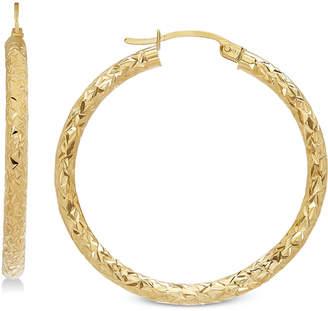 Macy's Textured Hoop Earrings in 14k Gold, 1 3/8 inch