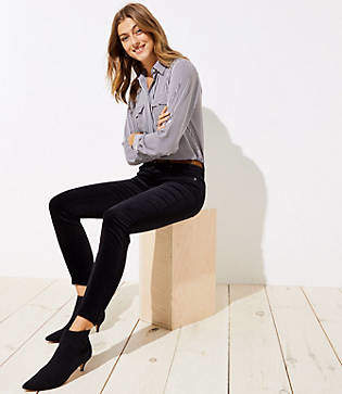 LOFT Petite Modern Velvet Skinny Jeans in Black