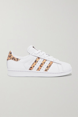 adidas Superstar Leopard Print-trimmed Leather Sneakers