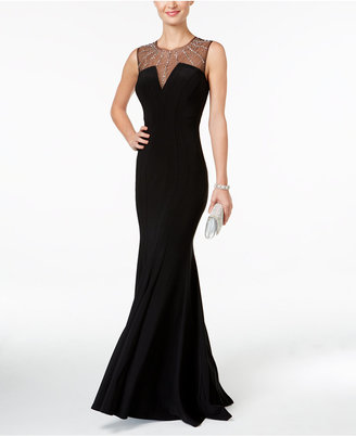 Betsy & Adam Illusion Mermaid Gown $259 thestylecure.com