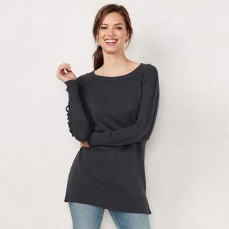 Lauren Conrad Women's Lace-Up Sleeve Tunic Sweater