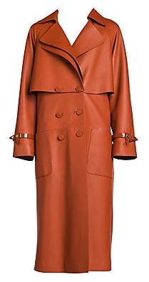 Fendi Women's Nappa Leather Trench Coat with Back Zip