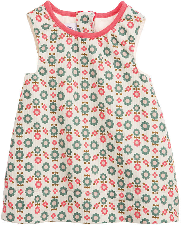 Nordic Baby Girl Cotton Piqué Pinafore Dress With Flower Print