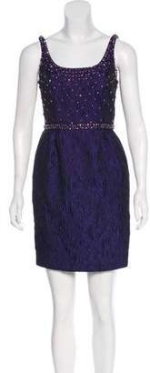 Carmen Marc Valvo Embellished Jacquard Dress