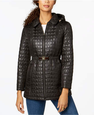 Kate Spade Bow-Belt Hooded Quilted Coat