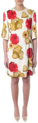 Dolce & Gabbana White Cady Dress With Biscuit & Roses Print