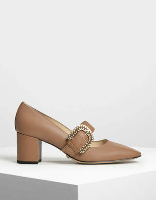 Charles & Keith Leather Buckle Strap Mary Jane Heels