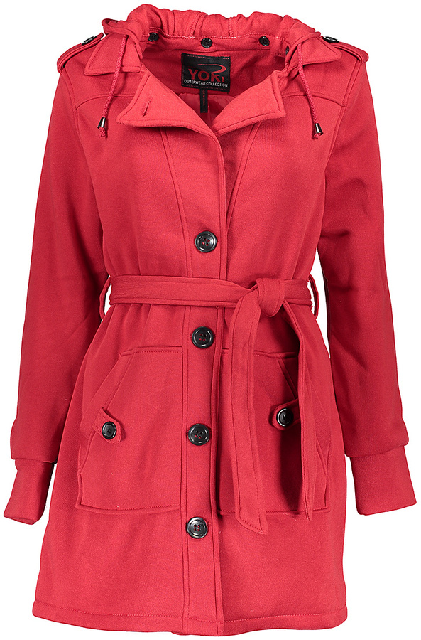 Red Fleece-Lined Hooded Trench Coat