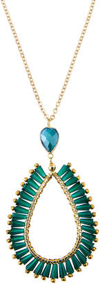 Panacea Green Crystal Teardrop Pendant Necklace