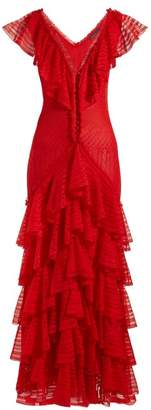 Alexander McQueen Ruffle Trimmed Lace Gown - Womens - Red