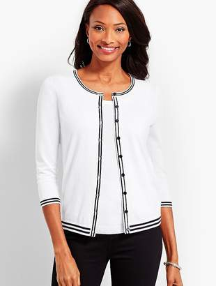 Talbots Tipped Charming Cardigan - White