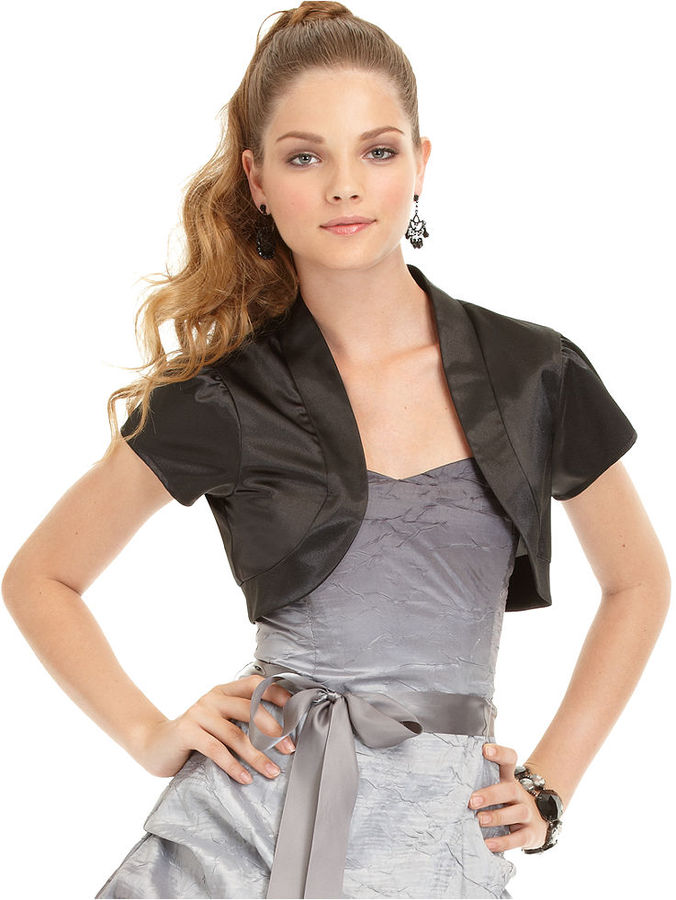 Amy Byer BCX Juniors Shrug, Open Front Short Sleeve Satin Cropped