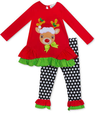 Rare Editions Baby Girls 2-Pc. Reindeer Top & Leggings Set