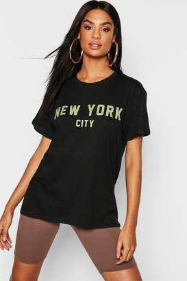 boohoo Tall New York Slogan T-Shirt