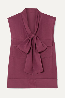 Golden Goose Margherita Pussy-bow Twill Top - Plum