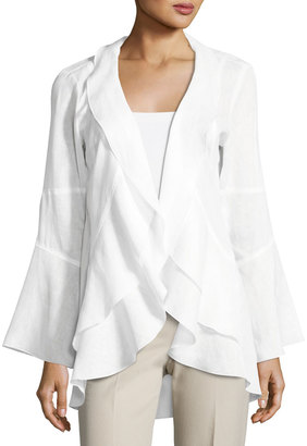Neiman Marcus Linen Ruffled Topper, White $99 thestylecure.com