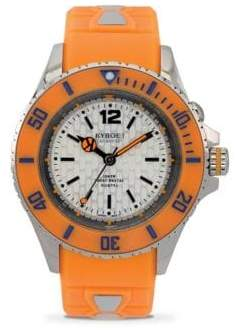 Neon Orange Silicone & Stainless Steel Strap Watch/40MM