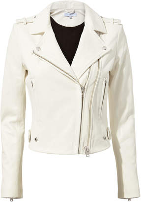 IRO Dylan White Cropped Moto Jacket
