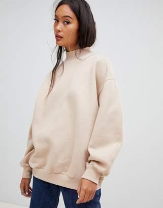 Bershka high neck oversized sweater in camel