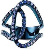 Lana Illuminating 14k Blue Gold Sapphire Interlock Ring, Size 5