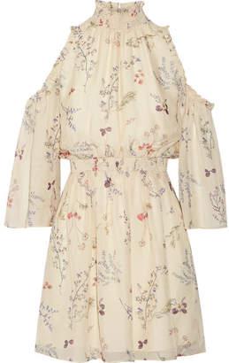 Rachel Zoe Meade Cold-shoulder Floral-print Silk-chiffon Mini Dress - Ivory