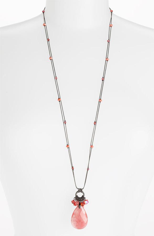 Dabby Reid Ltd. 'Zoe' Long Crystal Cluster Pendant Necklace