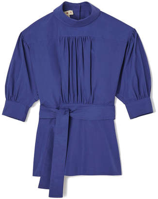 Marni Mock-Neck Elbow-Sleeve Cotton Blouse