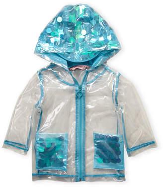Urban Republic Infant Girls) Blue Transparent Sequin Raincoat