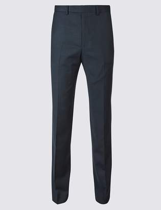 Marks and Spencer Big & Tall Navy Tailored Fit Wool Trousers