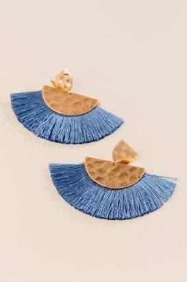 francesca's Addison Fan Tassel Earring - Blue