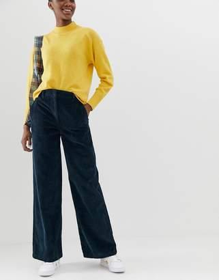 Asos Design DESIGN slouchy wide leg in dark teal cord
