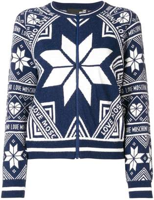Love Moschino intarsia knit zipped cardigan