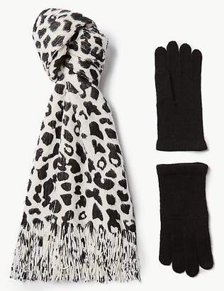 M&S Collection Animal Print Scarf & Gloves Set