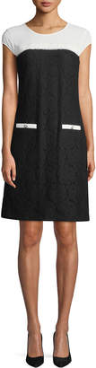 Karl Lagerfeld Paris Colorblocked Stretch Lace Cap-Sleeve Dress