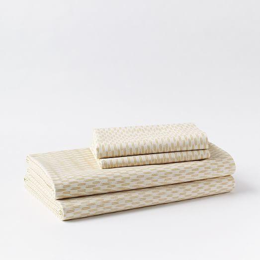 west elm Organic Ikat Stripe Pillowcases - Horseradish