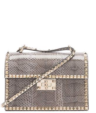 Valentino Small Snakeskin Rockstud No Limit Shoulder Bag in Silver Blue | FWRD