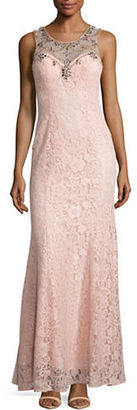 Betsy & Adam Sleeveless Embellished Lace Gown $279 thestylecure.com